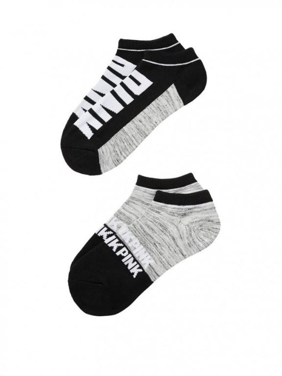 Victoria's Secret PINK kotníkové ponožky Ultimate Low Show Socks šedočerné