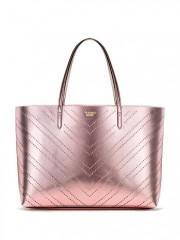Růžová metalická taška Victorias Secret Laser Cut Everything Tote