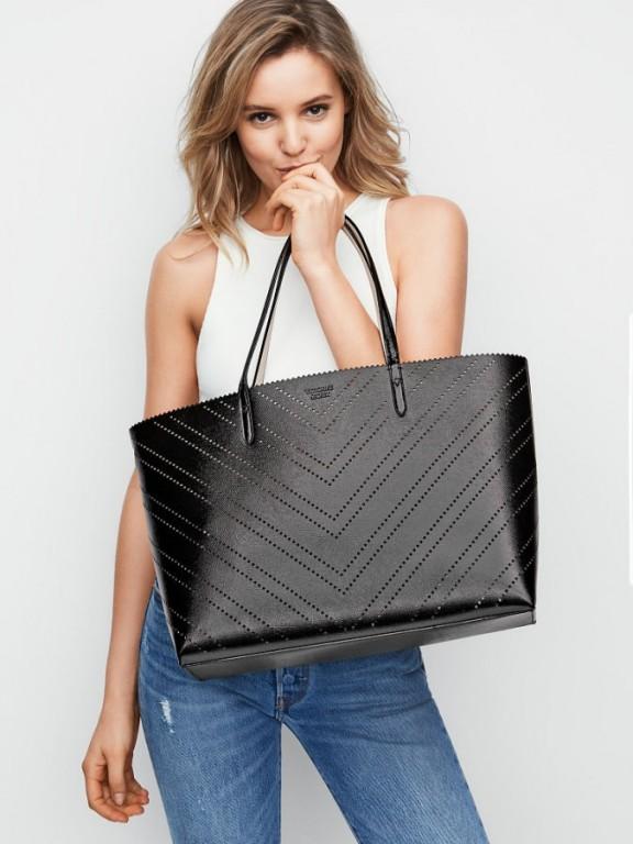 Luxusní kabelka 2v1 Victoria's Secret Laser Cut Everything Tote černá