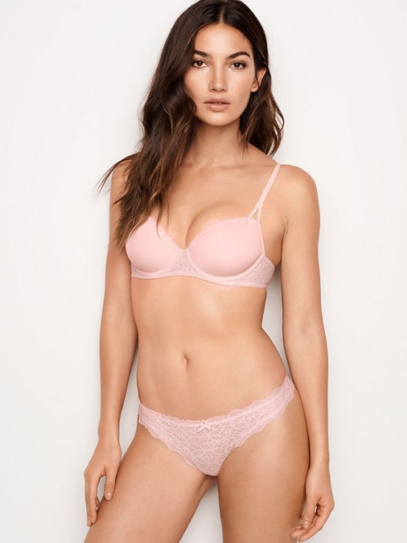 Victoria's Secret sexy krajková tanga Chantilly Lace Thong růžová