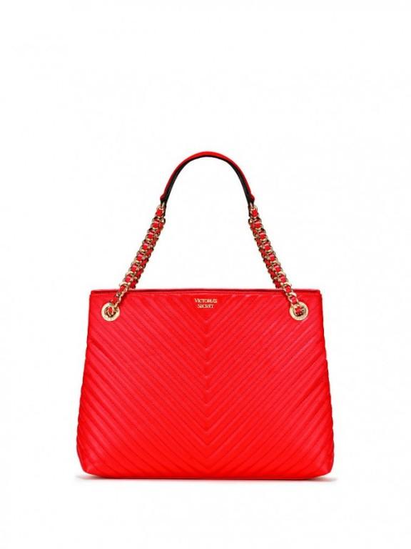 Victoria's Secret luxusní červená kabelka Pebbled V-Quilt Shoulder Tote