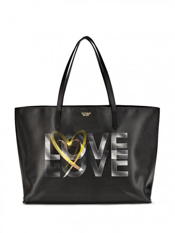 Koženková kabelka s 3D aplikací Victoria's Secret 3D Love Tote