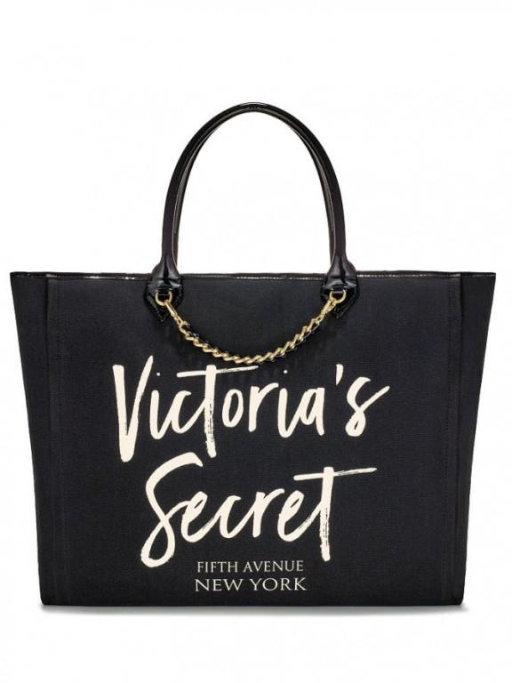 Černá plátěná taška Victoria's Secret Angel City Tote