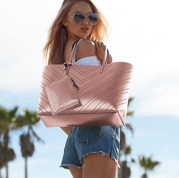 Victoria's Secret luxusní kabelka 2v1 Laser Cut Everything Tote růžová
