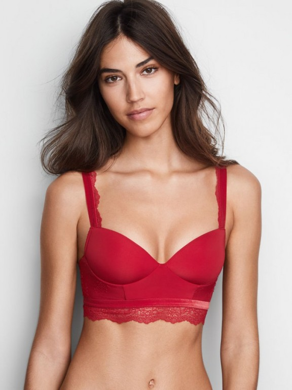 Victoria's Secret push-up braletka bez kostic Velvet-trim Push-up Bralette červená