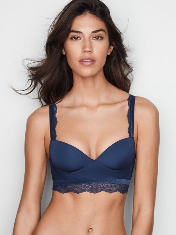 Victoria's Secret push-up braletka bez kostic Velvet-trim Push-up Bralette modrá