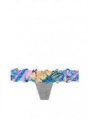 Pruhovaná bavlněná tanga s barevnou krajkou
