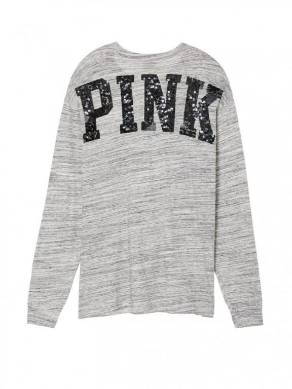 Victoria's Secret oversized tričko s flitrovým nápisem na zádech Long Sleeve Campus Tee