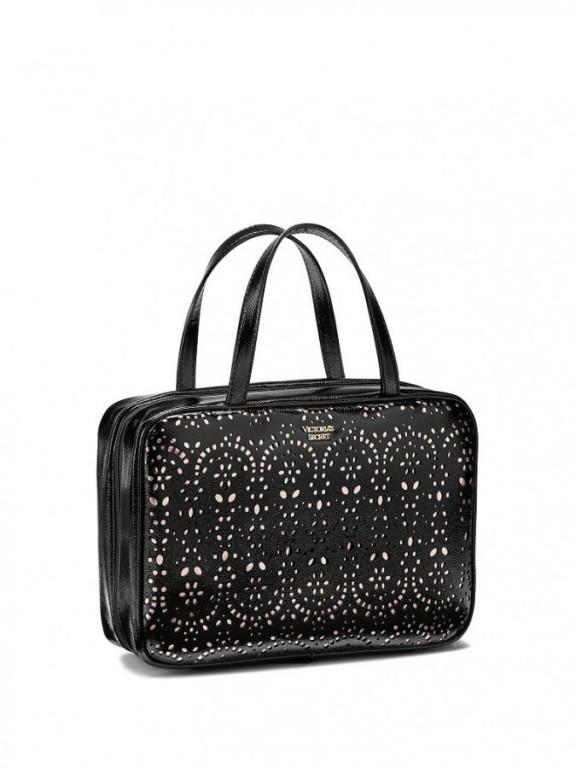 Victoria's Secret velký kosmetický kufřík Petal Edge Jetsetter Train Case černý