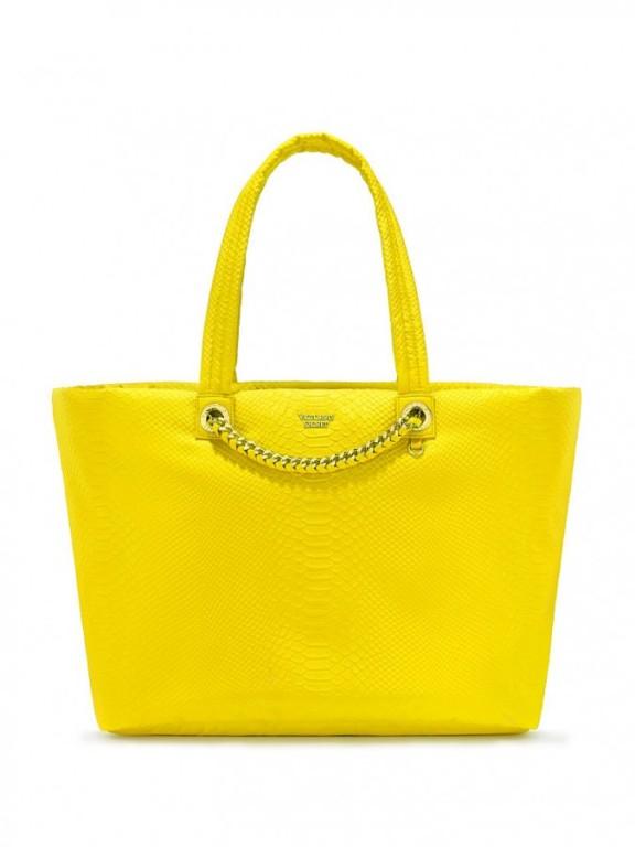 Victoria's Secret prostorná žlutá kabelka Nylon Python Weekender Tote