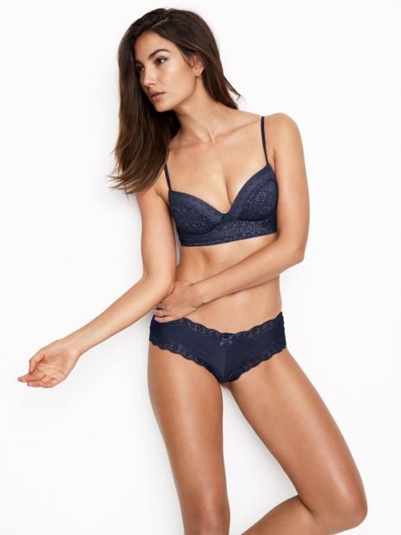 Victoria's Secret luxusní modré brazilské kalhotky Lace-Trim Cheeky