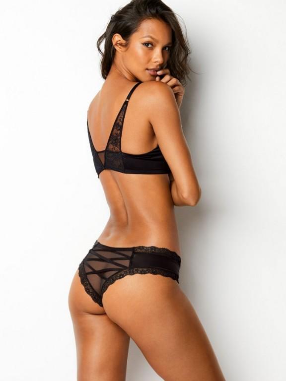 Victoria's Secret sexy černé brazilské kalhotky Mesh Lace-up Cheeky Panty