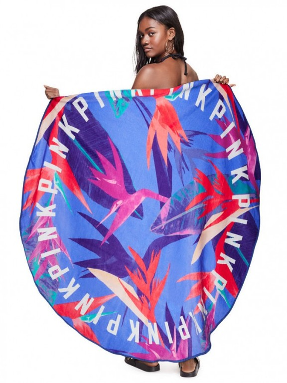 Victoria's Secret PINK plážová osuška Circle Beach Towel Blue Leaf