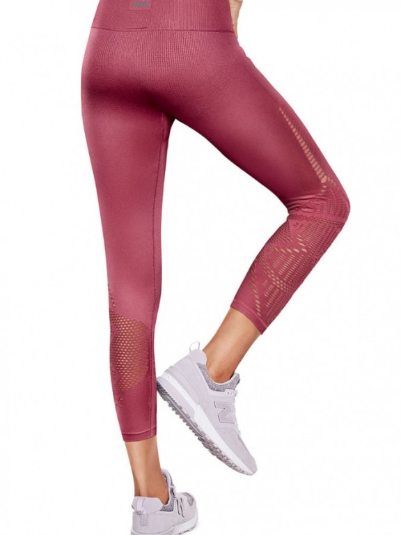 Victoria's Secret PINK bezešvé legíny Cool & Comfy High Waist Ankle Tight růžové