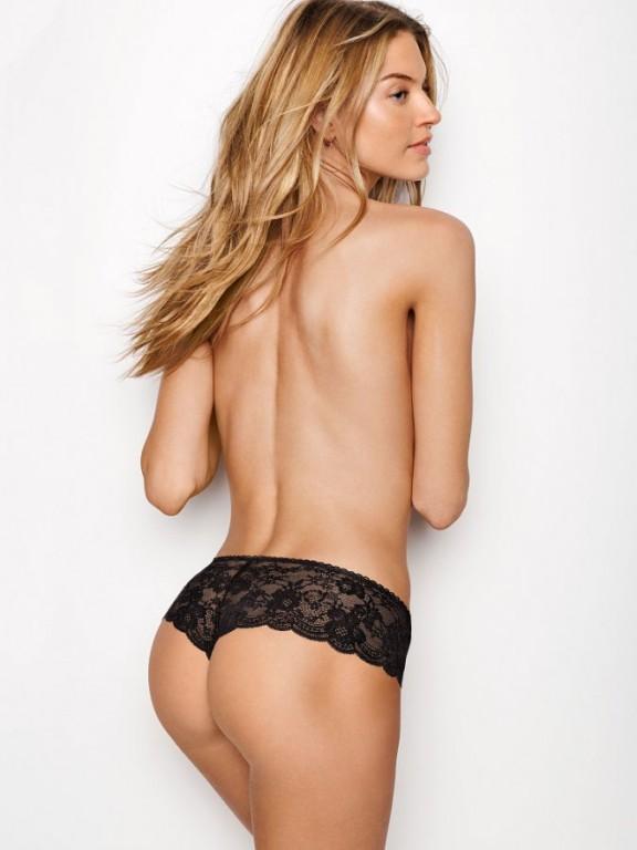 Victoria's Secret luxusní sexy černá tanga Floral Lace Hipster Thong Panty