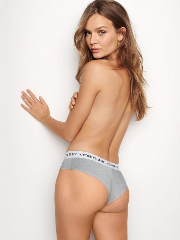 Victoria's Secret pohodlné brazilské kalhotky Bold Logo Cheeky Panty šedé