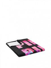 Victorias Secret PINK černý ručník s barevnými nápisy