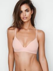 Victorias Secret hladká světle růžová podprsenka bez kostic