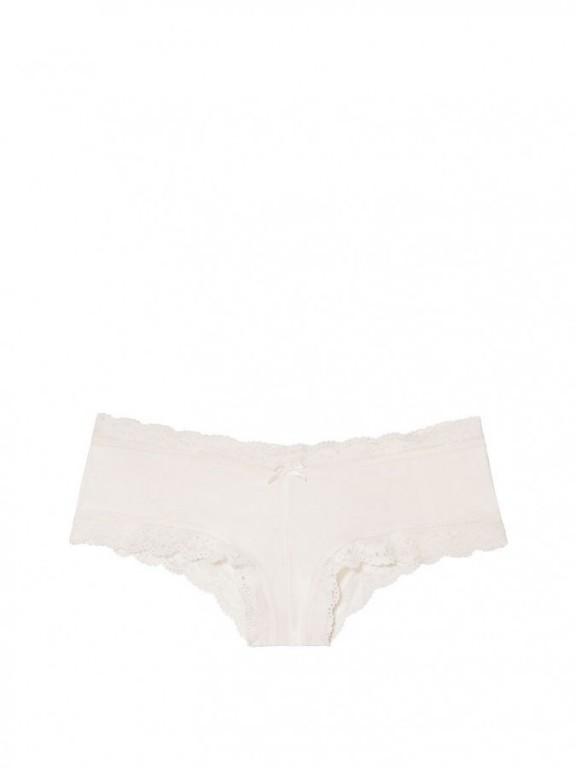Victoria's Secret sexy krémové brazilské kalhotky Mesh Lace-up Cheeky Panty
