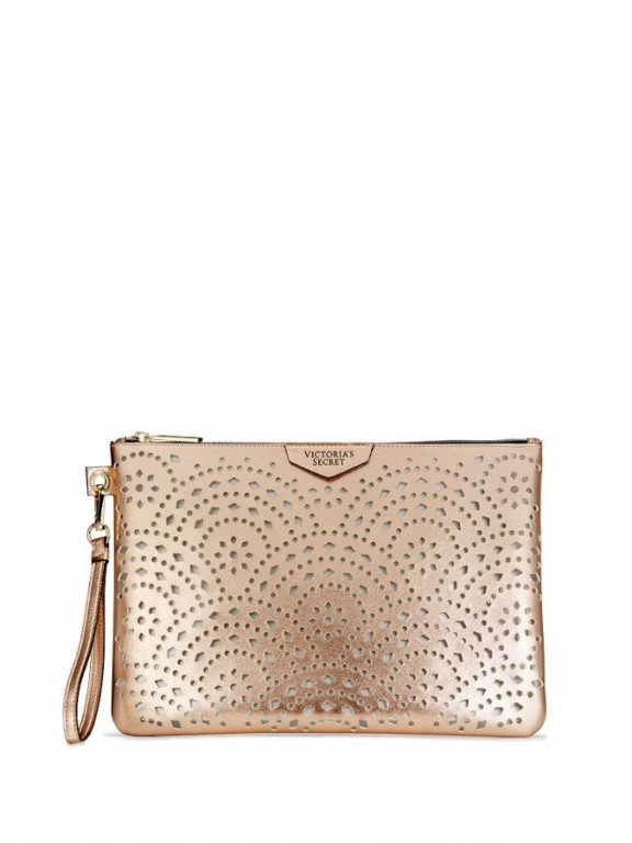 Victoria's Secret zlatá taštička Laser Cut Rose Gold Beauty Pouch