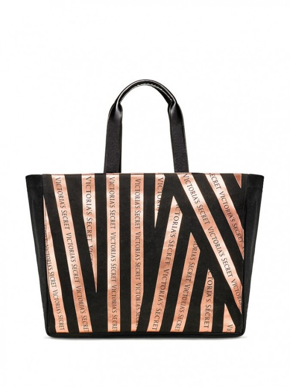 Victoria's Secret taška Bombshell Rosegold & Black Stripe Tote