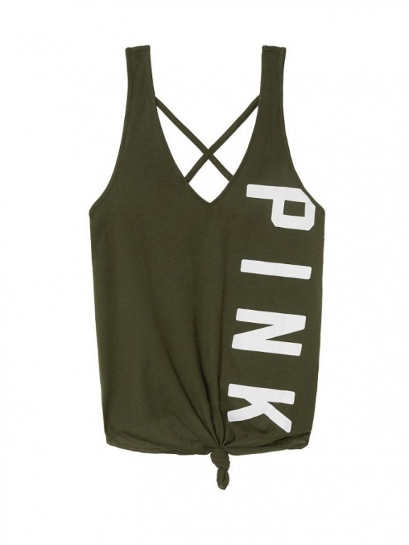 Victoria's Secret PINK stylové tílko Tie-Front Tank olivové