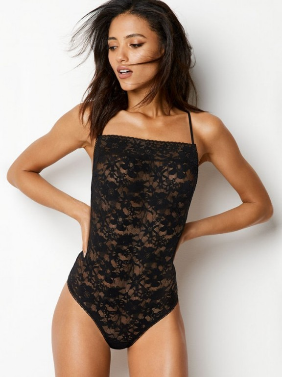 Victoria's Secret černé krajkové body The Lacie Bodysuit