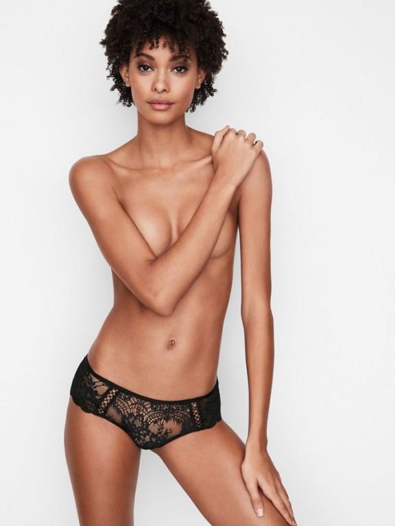 Victoria's Secret luxusní černá krajková tanga Floral Lace Hipster Thong