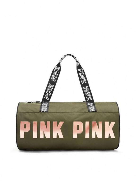 Victoria's Secret PINK sportovní taška Round Mini Duffle olivová
