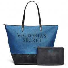 Victorias Secret džínová taška s malou taštičkou