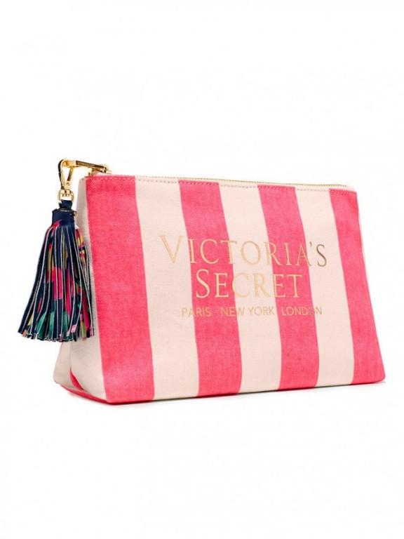 Victoria's Secret kosmetická taštička Striped Canvas Pouch