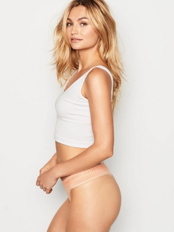 Victoria's Secret pohodlná tanga Logo Thong Panty