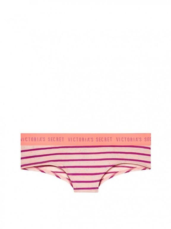 Victoria's Secret pohodlné brazilské kalhotky Bold Logo Cheeky Panty pruhované