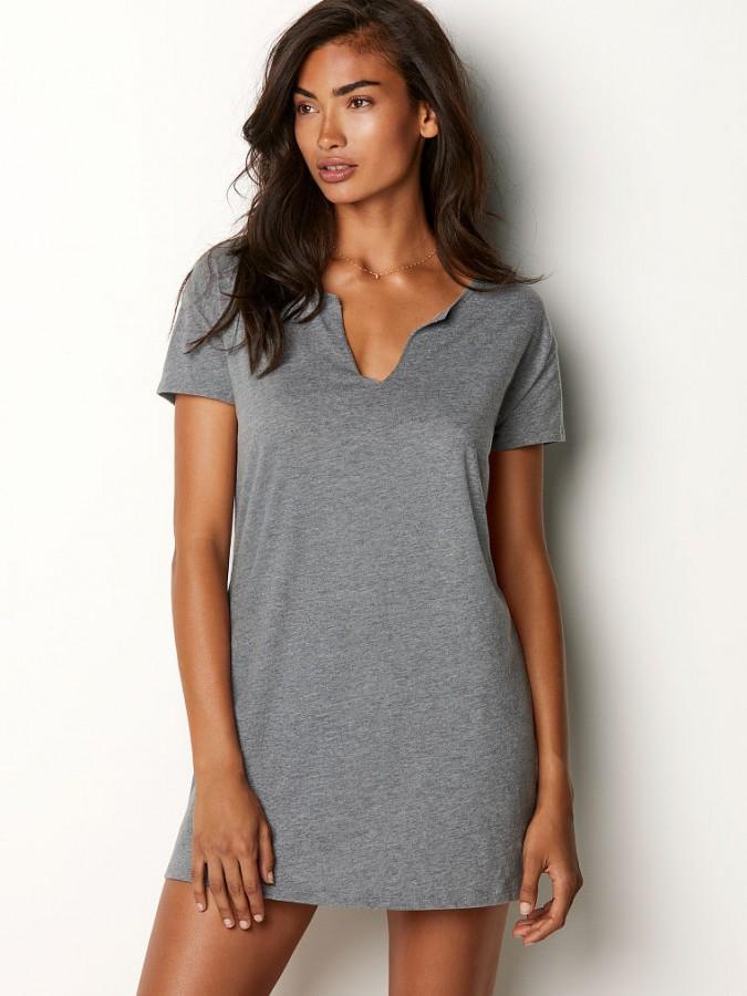 Victoria s Secret noční košile V-neck Sleepshirt šedá  a0383e9077