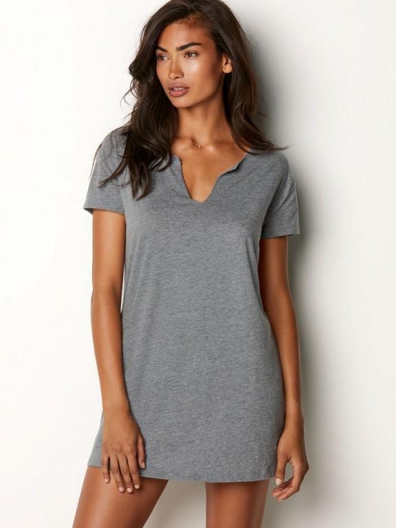 Victoria's Secret noční košile V-neck Sleepshirt šedá