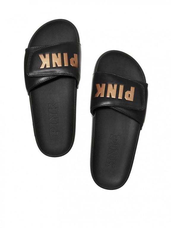 Victoria's Secret PINK dámské pantofle Crossover Comfort Slide černé