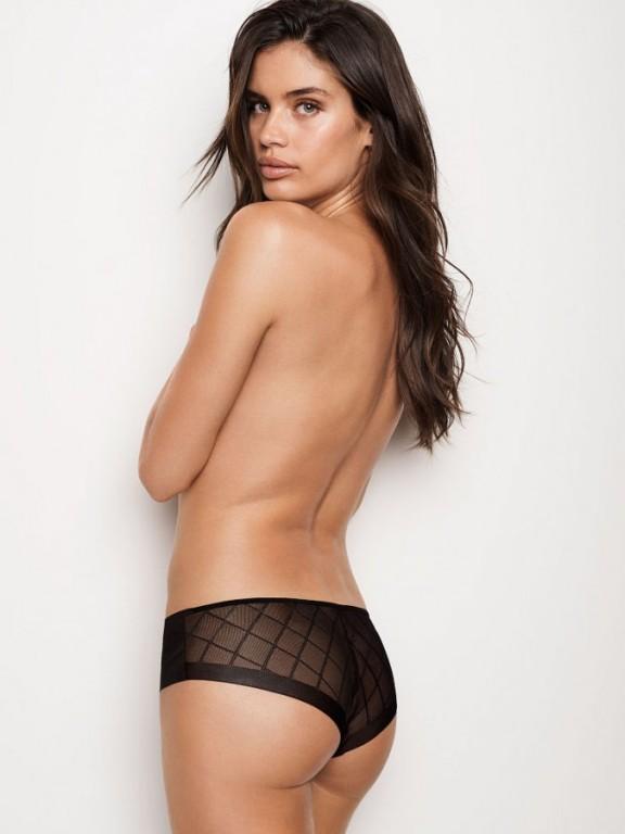 Victoria's Secret černé bezešvé kalhotky No-show Mesh Hiphugger