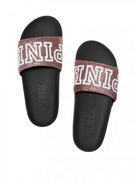 Victoria's Secret PINK třpytivé dámské pantofle Single Strap Slide