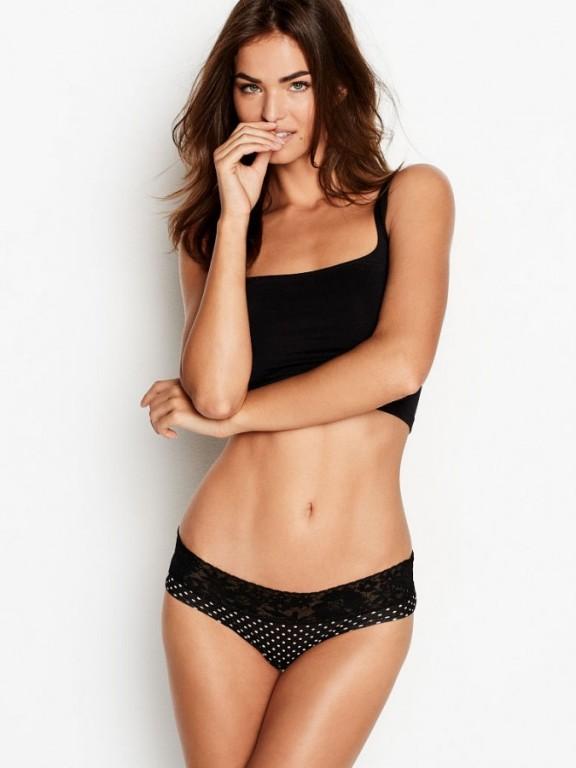 Victoria's Secret puntíkované pohodlné kalhotky Lace-waist Hiphugger