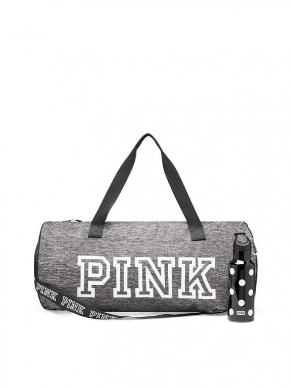 Victoria's Secret PINK velká šedá sportovní taška + lahev na pití