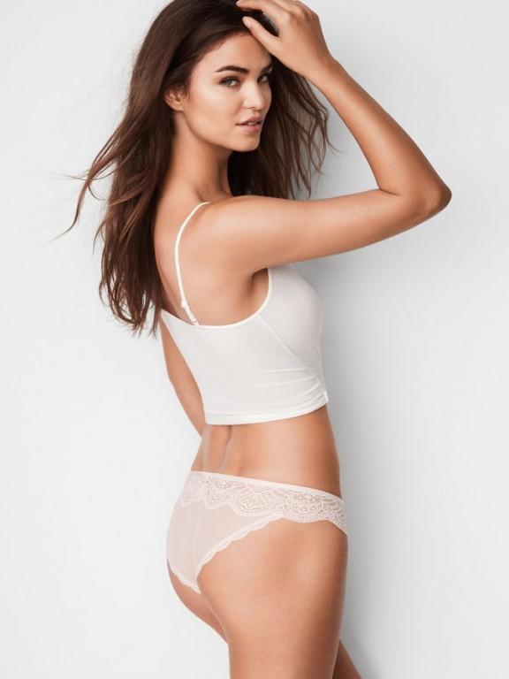 Victoria's Secret sexy krajkové krémové kalhotky Floral Lace Cheekini