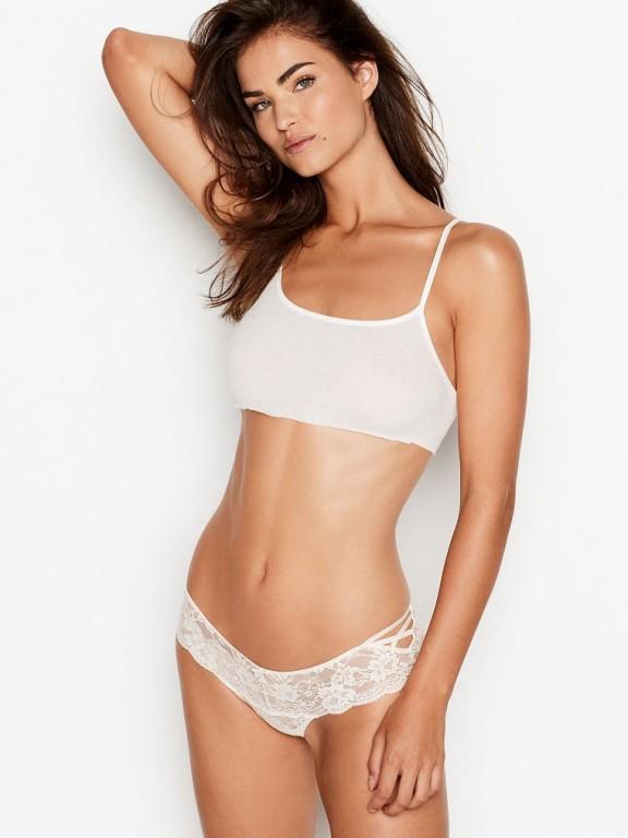 Victoria's Secret luxusní krajková tanga se šněrováním Lace-up Hipster Thong