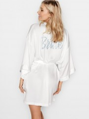 Victorias Secret bílý župan s modrým nápisem Bride