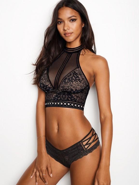 Victoria's Secret sexy brazilské kalhotky se šněrováním Crochet Lace Cheeky Panty