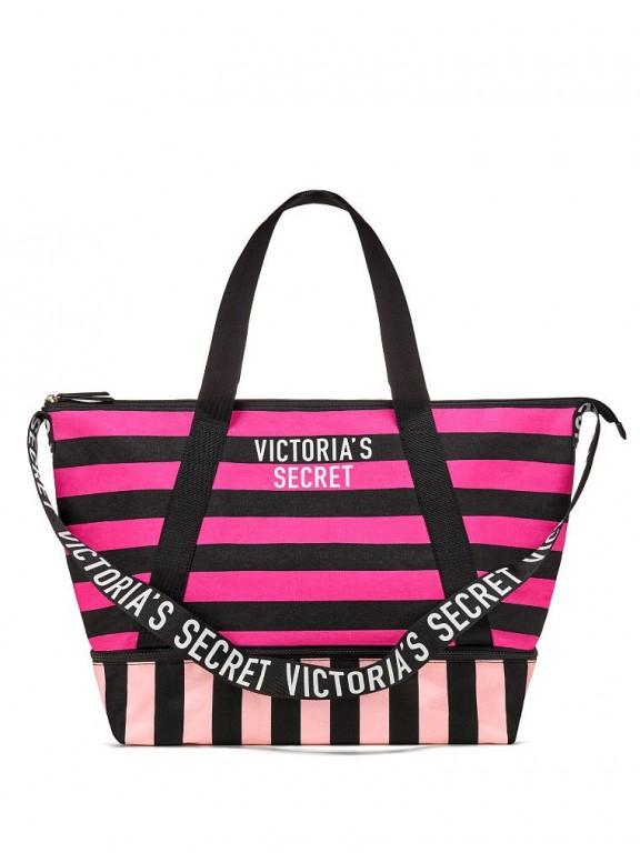 Victoria's Secret plátěná pruhovaná taška Stripe Tote