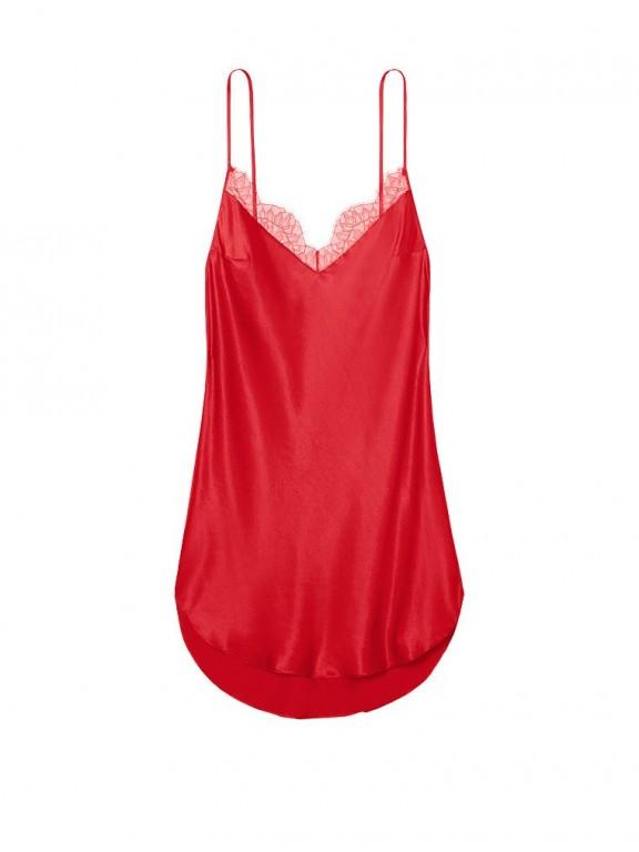 Victoria's Secret sexy červená noční košilka Lace-trim Satin Slip