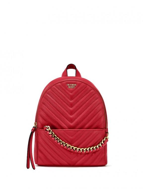 Victoria's Secret luxusní tmavě červený batůžek Pebbled V-Quilt Small City Backpack