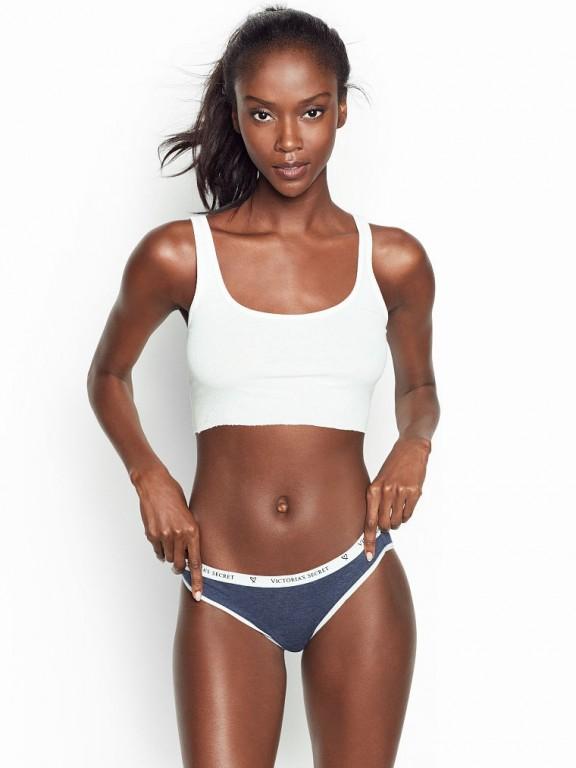 Victoria's Secret pohodlné kalhotky Bikini Panty modrý melír