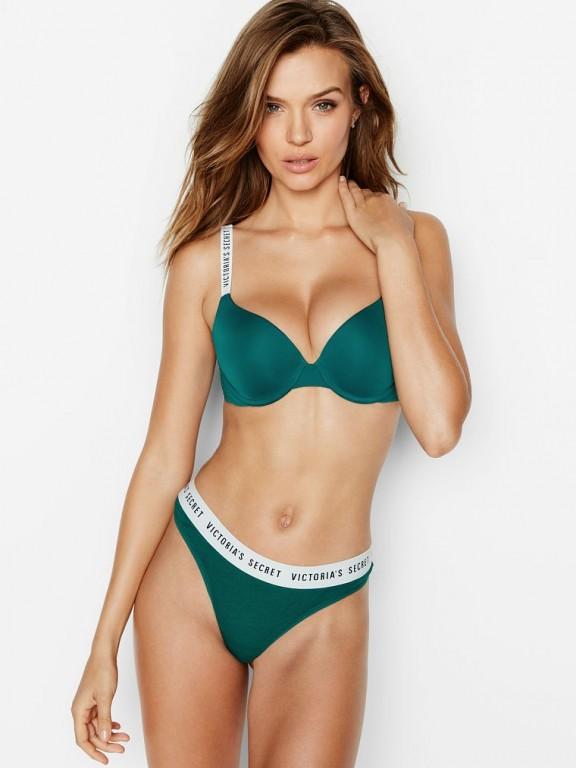 Victoria's Secret zelená podprsenka Push-Up Full Coverage Bra
