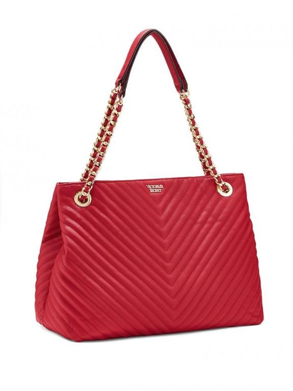 Victoria's Secret luxusní červená kabelka V-Quilt Shoulder Tote